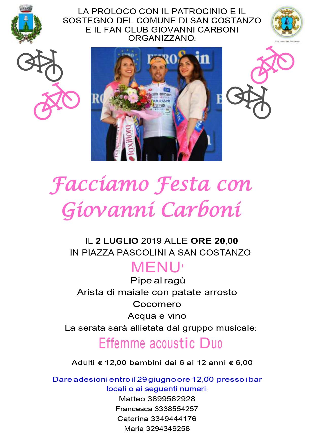 Festa per Giovanni Carboni